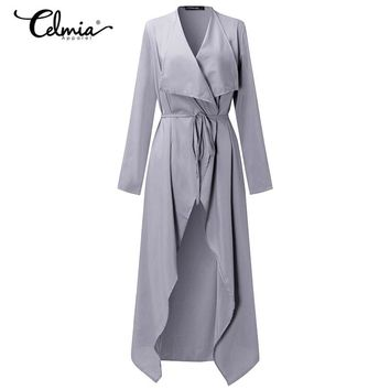 Spring Thin Windproof Outerwear Women Trench Coats Long Sleeve Open Front Elegant Office Work Long Duster Coat Cardigan 3XL