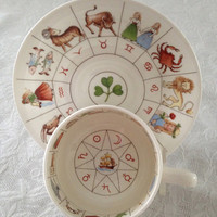 Fortune Telling Zodiac Tea Cup & Saucer Delphine China