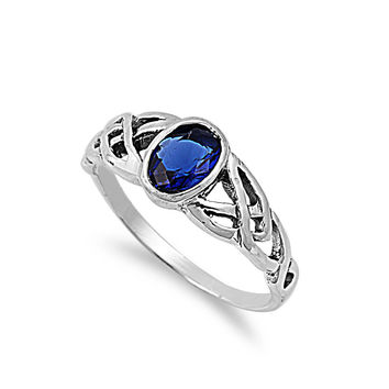 925 Sterling Silver CZ Wicca Celtic Simulated Sapphire Ring 8MM