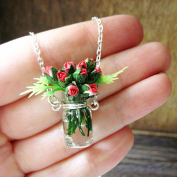 Red Rose Bouquet Necklace / Sterling Silver / by DoodleBirdie