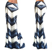 Striped Asymmetrical Maxi Skirt