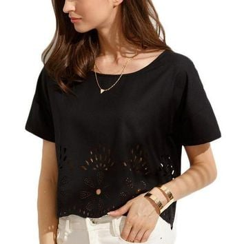 Women Blouses Black Short Sleeve Cute Tops Slim Clothing Fashion Brief Blouse