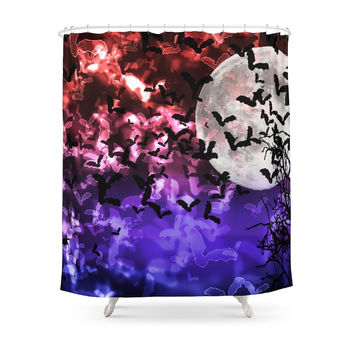 Society6 Bokeh Bats In Moonlight Shower Curtain