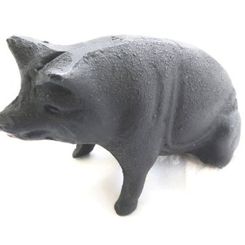 Cast Iron Piggy Bank Vintage Pig Bank Cast Iron Toys Farmhouse Decor Childrens Bank