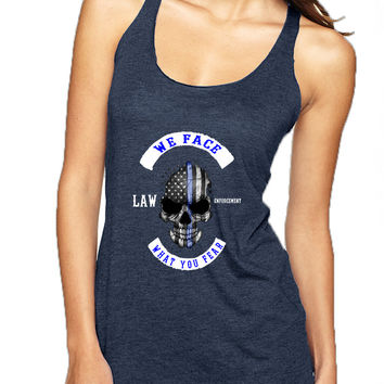 Women's Tank Top We Face What You Fear USA Flag Skull
