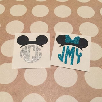 GLITTER Disney Inspired Monograms | Mickey Minnie Monograms | Mickey Minnie Hat Monograms | Disney Hat Monograms | Magic Band Decals