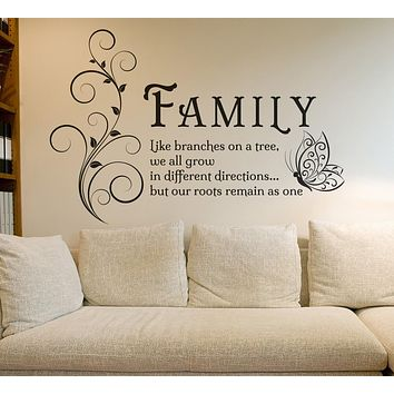 Family Tree Butterfly Wall Art Sticker Wall Decals Quotes Mural, family entrance, hall,  Living Room Home Decor
