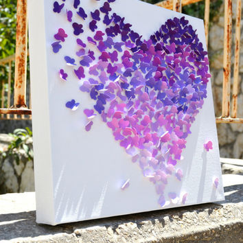 Purple Ombre Butterfly Heart/ 3D Butterfly Wall Art /  / Nursery Decor /Children's Room Decor / Engagement / Wedding Gift - Made to Order
