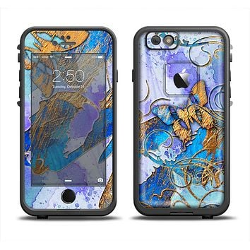 The Blue Bright Watercolor Butter-Floral Apple iPhone 6 LifeProof Fre Case Skin Set