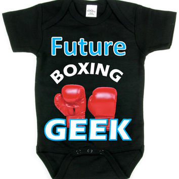 Baby Boy Future Boxing GEEK_Sports Baby Tee Collection_Blue Design_Black Tee