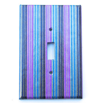 Oversized Switch Plate Cover- Purple, Blue, Black, Gold Striped Handmade Japanese Paper