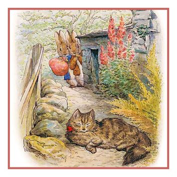 Peter and Ben Rabbit See a Cat inspired by Beatrix Potter Counted Cross Stitch or Counted Needlepoint Pattern