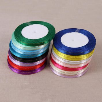 10 Pcs\lot 6 mm Width Gold Edge Silk Satin Ribbon For Arts Crafts Sewing Christmas Wedding Party Gift Wrap Handmade DIY Material