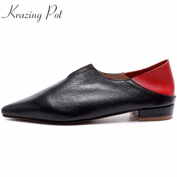 Krazing pot brand shoes mixed color thick low heels pointed toe women pumps slip on high quality women runway causal shoes L28