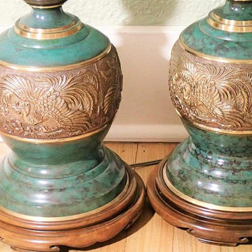 Asian Inspired Chinoiserie Brass Lamps James Mont style Mid Century Large Vintage Table lamp pair with original Vintage Lamp shades