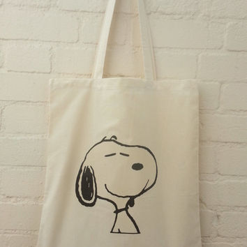 Snoopy Natural Cotton Tote Bag