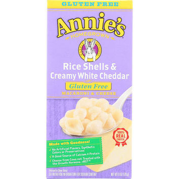 Annies Homegrown Macaroni And Cheese - Rice Shells And Creamy White Cheddar - Gluten Free - 6 Oz - Case Of 12