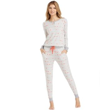 Women's Cuddl Duds Pajamas: Along the Boardwalk Henley Top & Jogger Pants PJ Set | null
