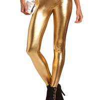 Gold Metallic Legging: Charlotte Russe