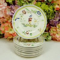 9 Vintage Longchamp French Faience Bread & Butter Plates ~ Moustiers