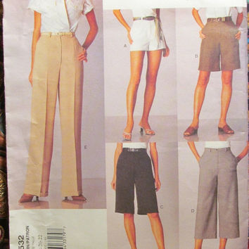 Sale Uncut Vogue Basic Designs Sewing Pattern, 2532! 18-20-22 Large/XL/XXL/Women's/Misses/Petite/Khakis/micro mini & Knee Length Shorts/Pant