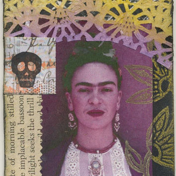 Frida Kahlo ATC/ACEO original mixed media/collage original art vintage dictionary text stamps ink acrylic paints