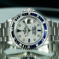 Rolex Men's Submariner 16610 Steel White MOP Dial Diamond Sapphire Dial/Bezel