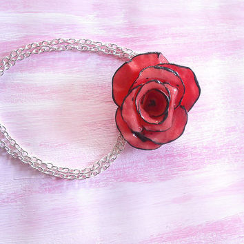 Red rose necklace with black line handmade in cold porcelain and hand painted