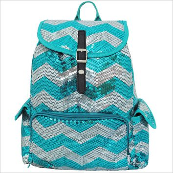 Spirit Sequin Chevron Bling Large Backpack AQUA