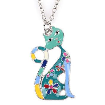 Cat Necklace Enamel Pendant Zinc Alloy Plate New Fashion Jewelry For Women Statement Charm Collares Accessories