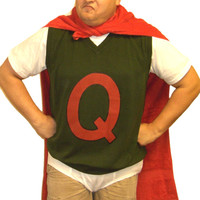 Quailman Sweater Vest Doug Funnie Q Adult Quail Man Costume 90's Super Hero TV Show Cartoon Superhero New
