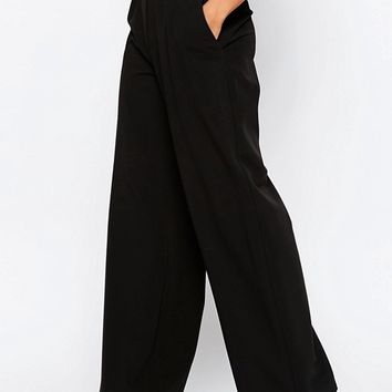 ASOS Wide Leg Pants with Pleat Detail at asos.com