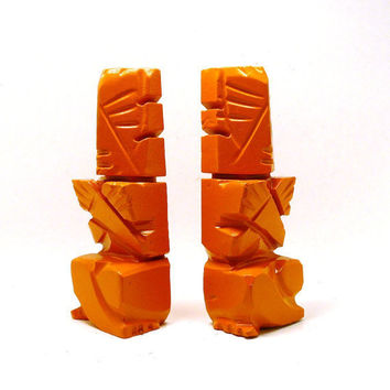 vintage tiki bookends, bright orange  //  marble home decor, tribal carving, office, den, man cave, 60s, book ends, upcycled, modern