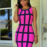Plaid Pattern Sleeveless Bodycon Dress