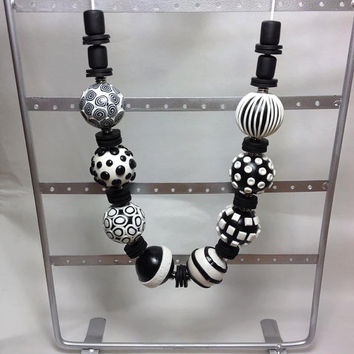 Beaded Necklace, Polymer Clay Jewelry, Handmade Beads,  Beads, Black and White, Black, White, Statement Necklace, Clay Beads, Gift for Her