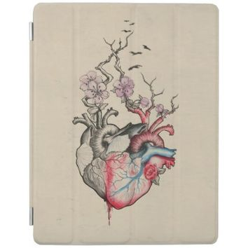 Love art merged anatomical hearts with flowers iPad cover