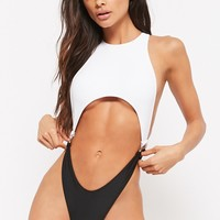 Strappy Colorblock One-Piece Swimsuit