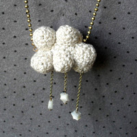 Mother's day gift Long necklace crochet Cloud with snow by HoKiou