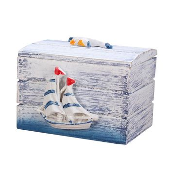 Mini Sea Wooden Pirate Treasure Jewelry Storage, Chest Craft Box