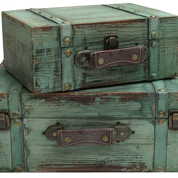 Turquoise Solid Wood Rectangle Trunks with Lining | Shop Hobby Lobby