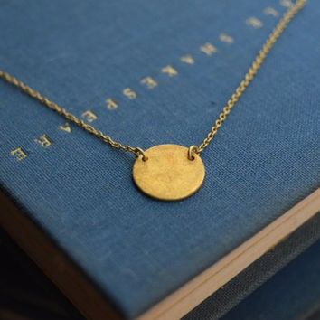 Sterling Silver Gold Plated Disk Necklace