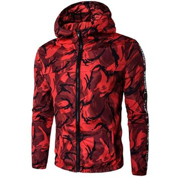 Cloudstyle 2017 New Mens Hoodie Camo Printing Camouflage Sweatshirt With Hat Slim Fit Men Hoody Plus Size M-5XL