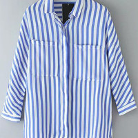 Blue Striped Long Sleeve Blouse