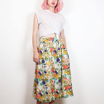Vintage 80s Skirt Ivory Pink Blue Gold Ditsy Floral Print Midi Skirt 1980s Preppy A Line Knee Length Skirt Classic Boho M Medium L Large