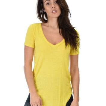 Lyss Loo Truly Madly Deep-V Neck Yellow Tunic Top