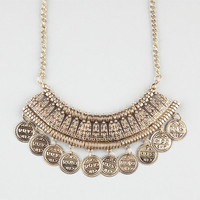 Full Tilt Textured Statement With Coins Necklace Gold One Size For Women 24485462101