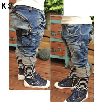 RK-085 Retail fashionable boy's jeans pants children jeans kids stripe loose-fitting casual jeans 3-7 yeas free shipping