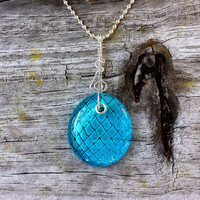 Game of Thrones style Dragon Egg engraved in glass for necklace pendant - etched glass, sterling silver and full of magic