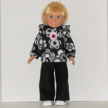 American Girl Doll Black & White Hoodie with Flowers and Black Sweat Pants