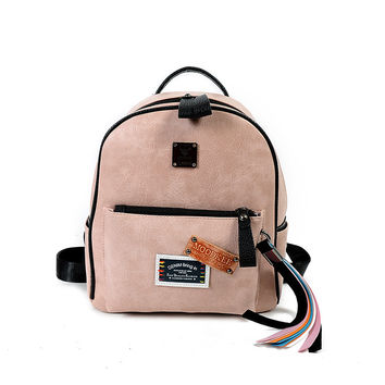 Fashion Small Backpacks PU Leather Ladies Funny Tassels Backpack Back Pack